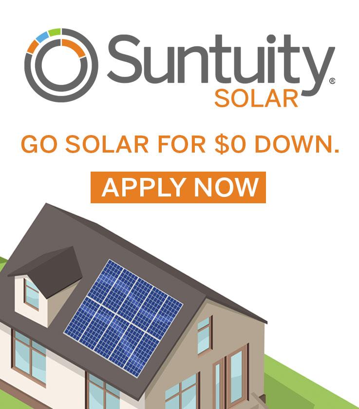 Go Solar for zero down with Suntuity Solar